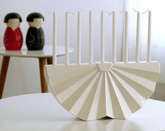 Origami Menorah, Hanukkah Menorah, modern geometric Judaica, White ceramic, Contemporary Judaica, Chanukah wedding gift