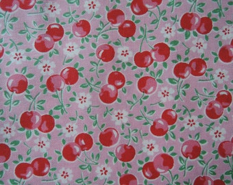 "Fat Quarter of Lecien Old New 30's Collection Cherries on Pink  Background Approx. 18"" x 22"" Made in Japan"