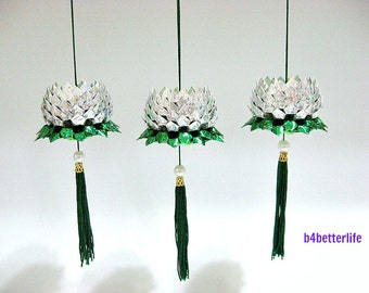 3pcs Small size Silver Color Orgami Hanging Lotus. (4D Glittering Paper Series).