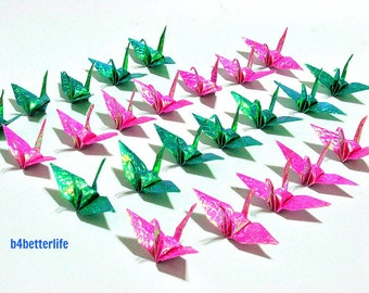 """100pcs 2-inch Cyan & Pink Origami Cranes Hand-folded From 2""""x2"""" Square Paper. (CY paper series). #FCA-3."""