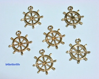 """Lot of 24pcs Double Sided """"Ship Wheel Nautical"""" Gold Color Plated Metal Charms. #XX277."""