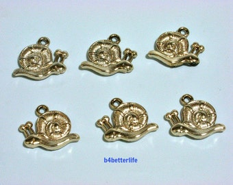 "Lot of 24pcs Double Sided ""Snail"" Gold Color Plated Metal Charms. #XX49."