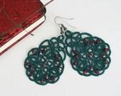 Green lace earrings, green earrings with red beads, statement earrings, tatted earrings, tatted jewelry.