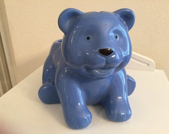 Blue Ceramic Teddy Bear Bank and Planter