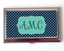 Star Monogram Business Card Case - Navy Blue Monogram Business Card Holder - Mint Green Monogram Business Card Case