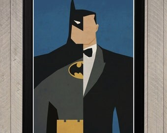 Batman - Bruce Wayne Alter Ego Minimalist Poster, Retro Movie Poster, Art Print