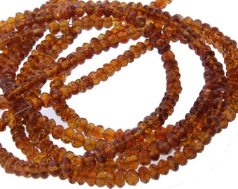 AAA Grade Faceted 3.5mm Hessonite Garnet Beads Half Strand 8Inches