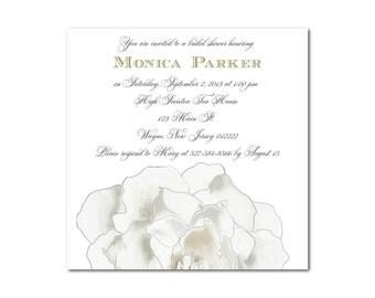 Gardenia Bridal Shower Invitation- Set of 10