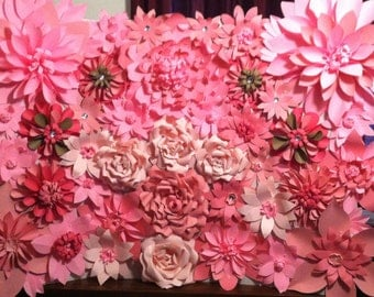 4ftx5ft Pink Paper Flower Wall Backdrop