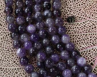 12mm Amethyst  Round Large Hole Beads