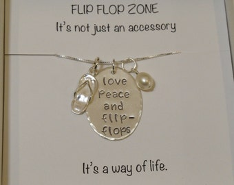 Gifts for Friends   Gifts for Her   Daughter Gifts   Sister Gifts   Birthday   Beach Jewelry   Love Peace & Flip Flops Stamped Necklace