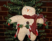 Snowman ornie with candy canes - 5 x 6 inches      READY TO SHIP