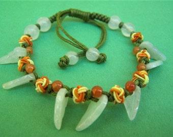 Free Shipping - Lovely Colorful Adjustable Beaded Silk Knots Jadeite Jade 7 Leaf Bracelet