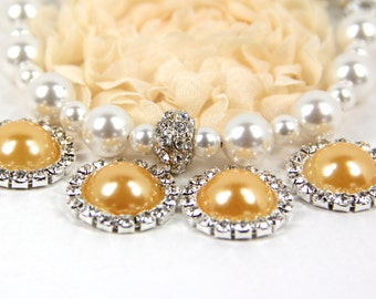 """Orange Pearl and Rhinestone Buttons- (5) """"Orange"""" Buttons With Brilliant Clear Surrounding Rhinestones 21mm, Peach Buttons"""