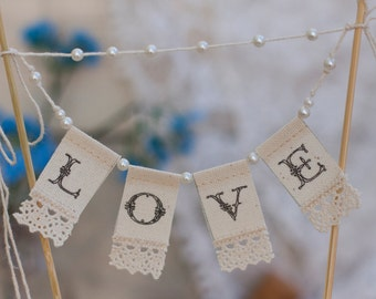 Wedding  Banner LOVE  Lace Cake  Banner with pearls