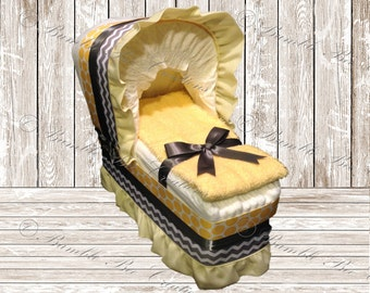 Diaper Bassinet - Diaper Carriage - Yellow & Gray Chevron Theme -  Baby Shower Gift - Baby Shower Centerpiece