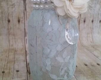 Mint green lace Mason jar, wedding decor, baby shower