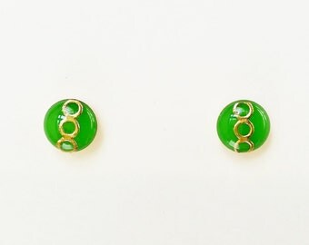 Tiny Kelly Green Stud Earrings, Small Kelly Green Resin Earrings, Green and Retro Stud Earrings, Hypoallergenic, Resin Jewelry, For Her