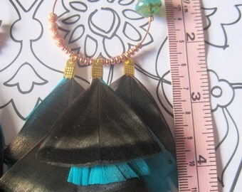 La Dinde Turquoise large feather earrings copper settings rare beads perfect for festival