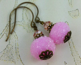 Pink Sugared Snowball Earrings