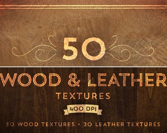 50 Wood & Leather Textures - High Quality PNG files for Photoshop - 400 DPI