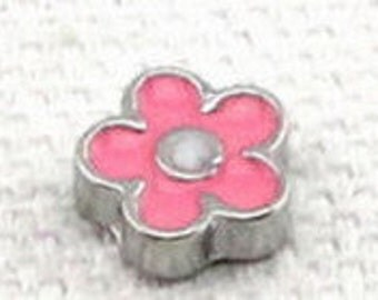 Floating Charm ~ 1 piece Pink Flower w/White Center