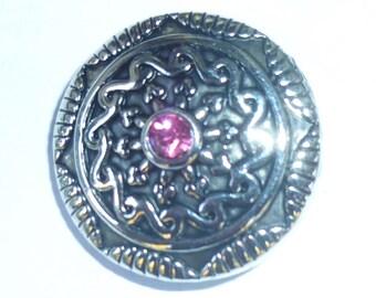 1 PC Pink Rhinestone Flower Center Antiqued Silver NOOSA Chunk Snap It Charm ~ Interchangable
