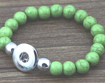 Light Green Mountain Stone Stretch Bracelet for Snap It/Ginger Chunk Charms