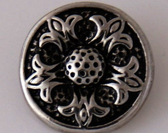 KB7790  Dark Antiqued Silver Flower Charm