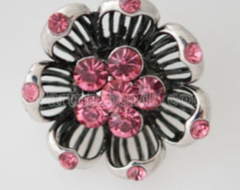 Clearance ~ KB7497  Very Large Evening Flower Charm ~ Dark Pink and Black Enamel