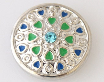 KB7011  Flat Shiny Silver Charm with Blue Hearts, Green Hearts, and Aqua Crystal