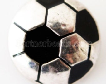 KB6181  Silver and Black Enamel Soccer Ball