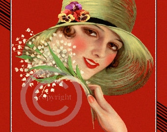 Beautiful Art Deco Flapper Girl Print, Wearing Green hat with Pansies, Holding flowers, Beautiful Eyes, Art Print by Earl Christy 11x14
