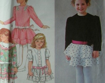 Girls Party Dress with Dropped Waist Girls Size 2-3-4 Simplicity 8148 UNCUT PATTERN Dated 1992