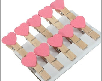 Mini clothespins with pink hearts, craft clothespins, pink hearts, baby shower, weddings, invitations,