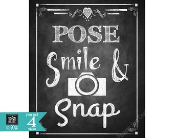 Instant Download Wedding PHOTO BOOTH Sign - Pose Smile Snap - DIY - Rustic Heart Chalkboard Collection