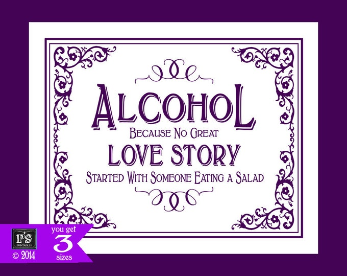 Printable Wedding Alcohol Love Story Sign - 5x7, 8x10 or 11 x 14 - instant download digital file - DIY - Black Tie Purple Plum Collection -