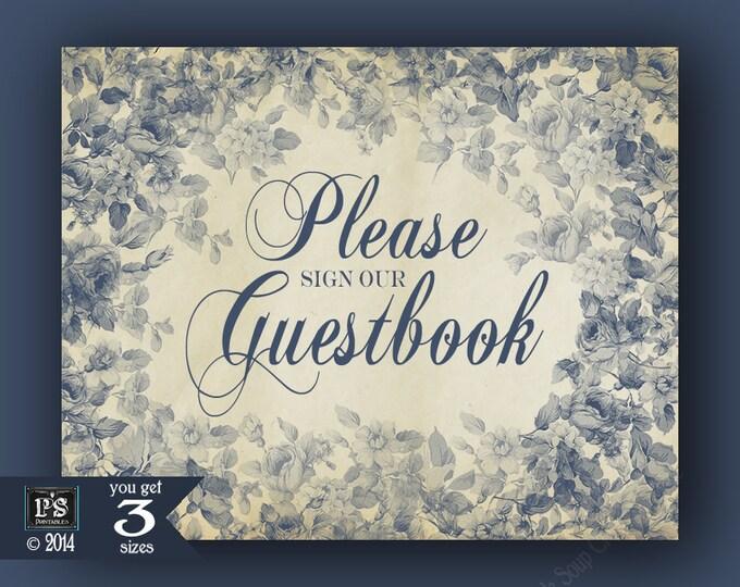 Printable Wedding Guestbook Sign - DIY download digital file  - Antique Floral Blue Wedding signage