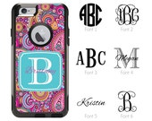 iPhone Otterbox Commuter Series Case for iPhone 5/5s/SE, 6/6s, 6 Plus/6s Plus Monogrammed Paisley Preppy Initials Personalized Case 1125