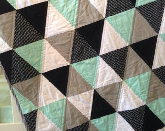 Baby Cot Quilt Mint Triangle Cot Quilt Mint Grey Black