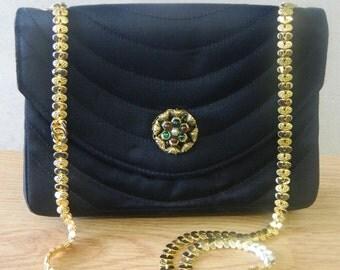 vintage CHANEL Gripoix Black Silk Clutch