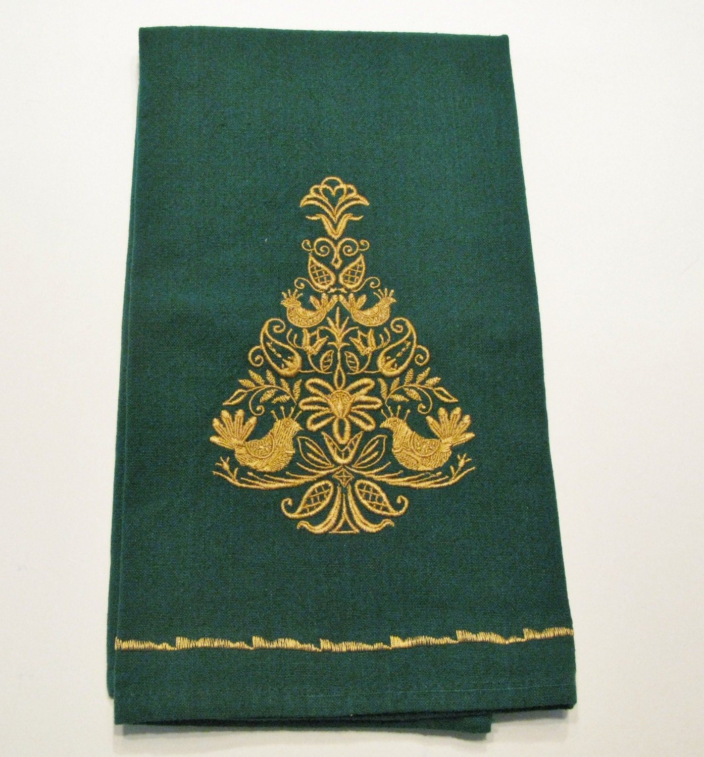 Embroidered Christmas Dish Towel Tea Towel Kitchen By