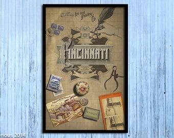Cincinnati vintage script poster.