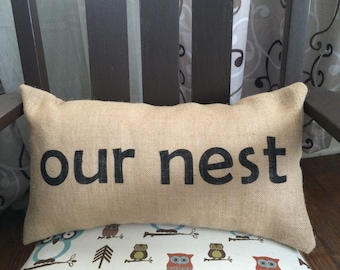 """Our Nest Burlap Pillow Cover -  Fits a 12"""" x 22"""" pillow insert -Ships Within 3 DAYS!"""