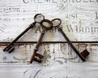 Large Antique Skeleton Key opener key iron key Keys