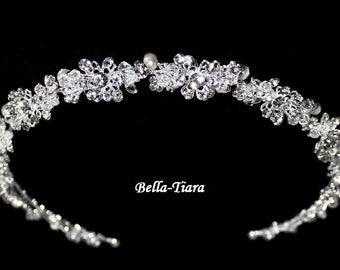 swarovski crystal headband, wedding headpiece, wedding headband, bridal ribbon headband, ivory pearl wedding headpiece