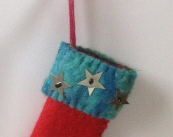 Hand Felted hand stitched Christmas Stocking Tree Decoration