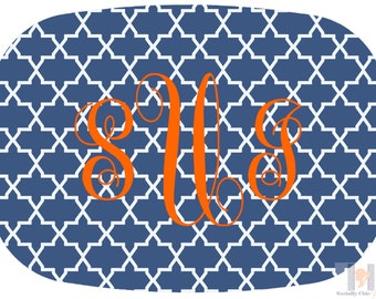 Monogrammed navy and orange stylish platter.  The perfect gift- entertain with style! Dishwasher safe! Custom gifts!!