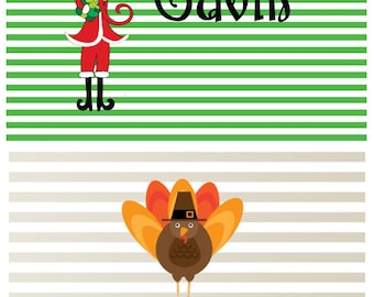 TWO sides Thanksgiving and Christmas Monogrammed  Placemat!  Great for children, hostess gifts or to wow your guests! Matching tableware