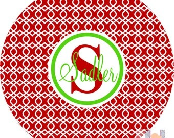 Monogram Trellis Holiday and Christmas Plate. Start a FUN holiday tradition with a plate customized with your family name. Great for gifts!!